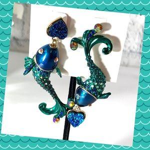 Betsey Johnson Glitter Reef Koi Fish Earrings
